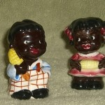 Black Americana Kids with Corn Salt Pepper Shakers