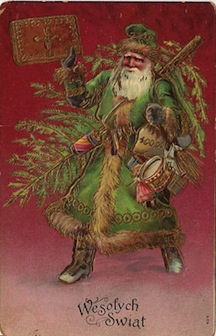 100 Yr old French Santa card