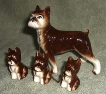 Vintage Chained Boxer Bulldog Figurines