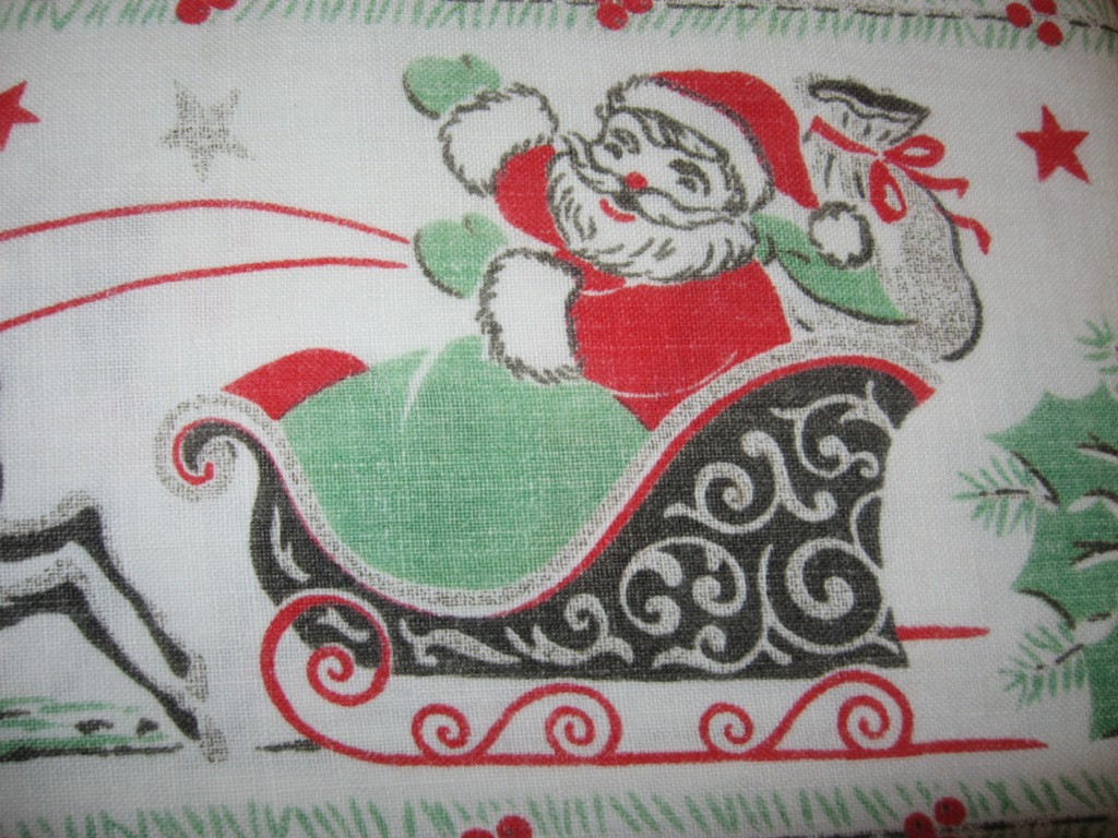 vintage santa tablecloth