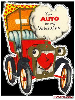 Elegant Anthropomorphic Auto Car Valentines
