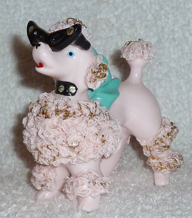 Vintage 1950s Pink Spaghetti Poodle Dog w/ Glasses and Rhinestones Figurine