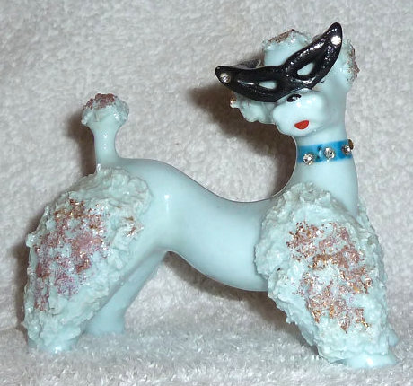 Vintage 1950s Blue Mid-Century Spaghetti Poodle Dog w/ Glasses and Rhinestones Figurine