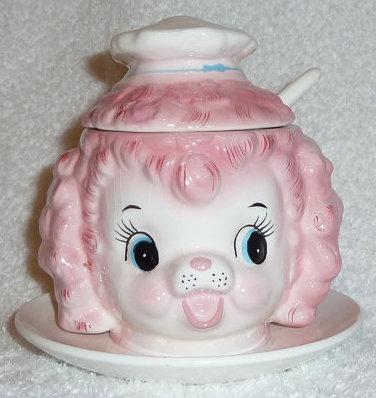Vintage Lefton Pink Poodle Chef Jam Jelly Jar 1950s
