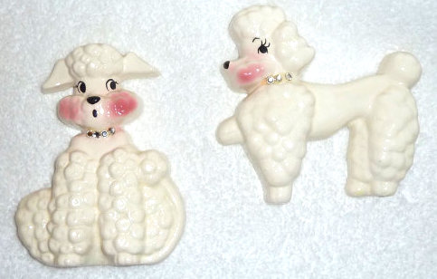 Vintage 1950s DeForest of California Poodle Dog Wall Plaques