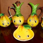 Vintage Anthropomorphic PY Pear Head Set