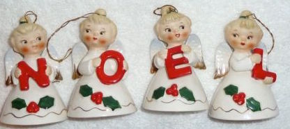Vintage Christmas Lefton Angel NOEL Bells
