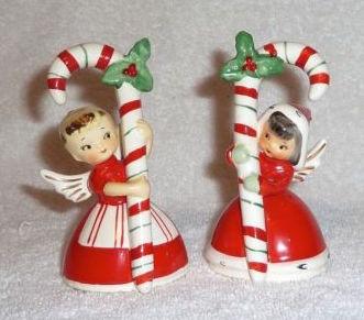 Vintage Napco Christmas Candy Cane Angel Bells