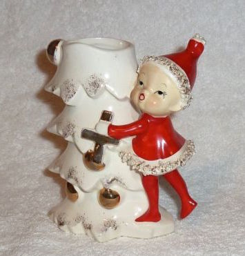 Vintage Ucagco Christmas Planter With Pixie