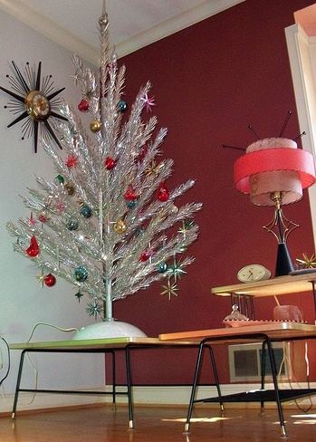 Mid-Century Modern Christmas Tinsel Tree