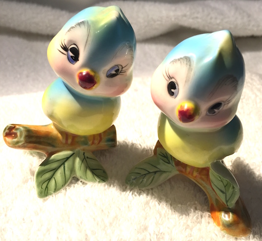 Vintage Anthropomorphic PY Blue Bird Salt and Pepper Shakers
