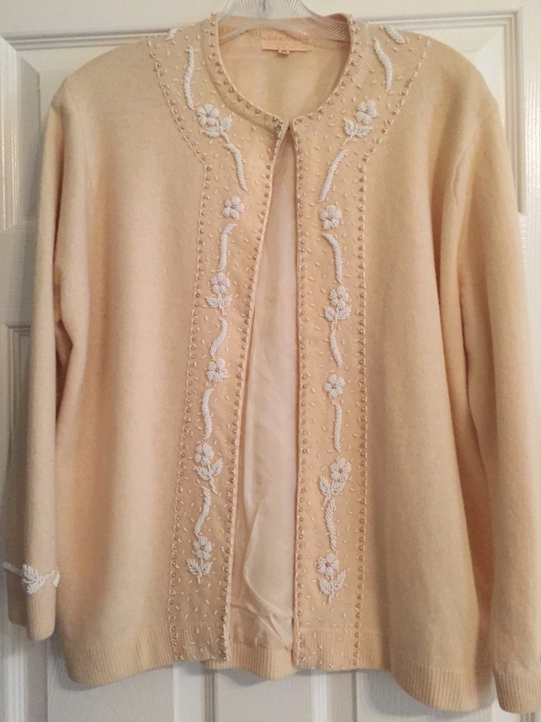 Vintage Beige Neutral Beaded Cardigan