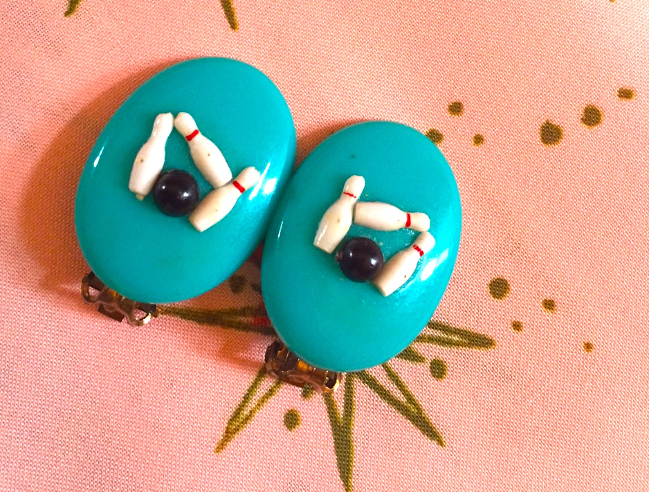 Mid-Century Modern Turquoise Bowling Earrings