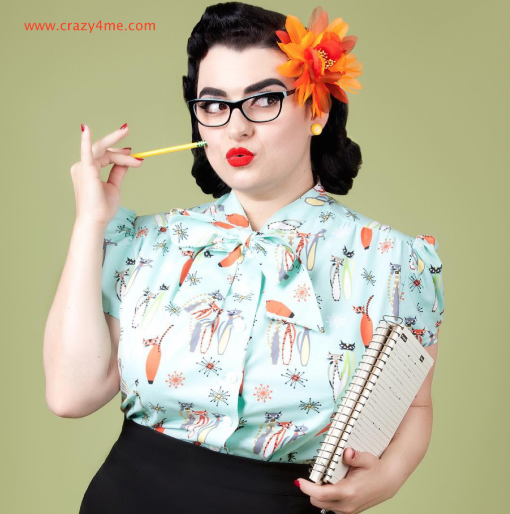 Yasmina Greco Crazy4Me Pinupgirl in Heart of Haute Estelle top in Atomic Cats sold by Pinup Girl Clothing