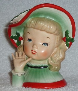 Vintage Napco Christmas Headvase Planter Girl