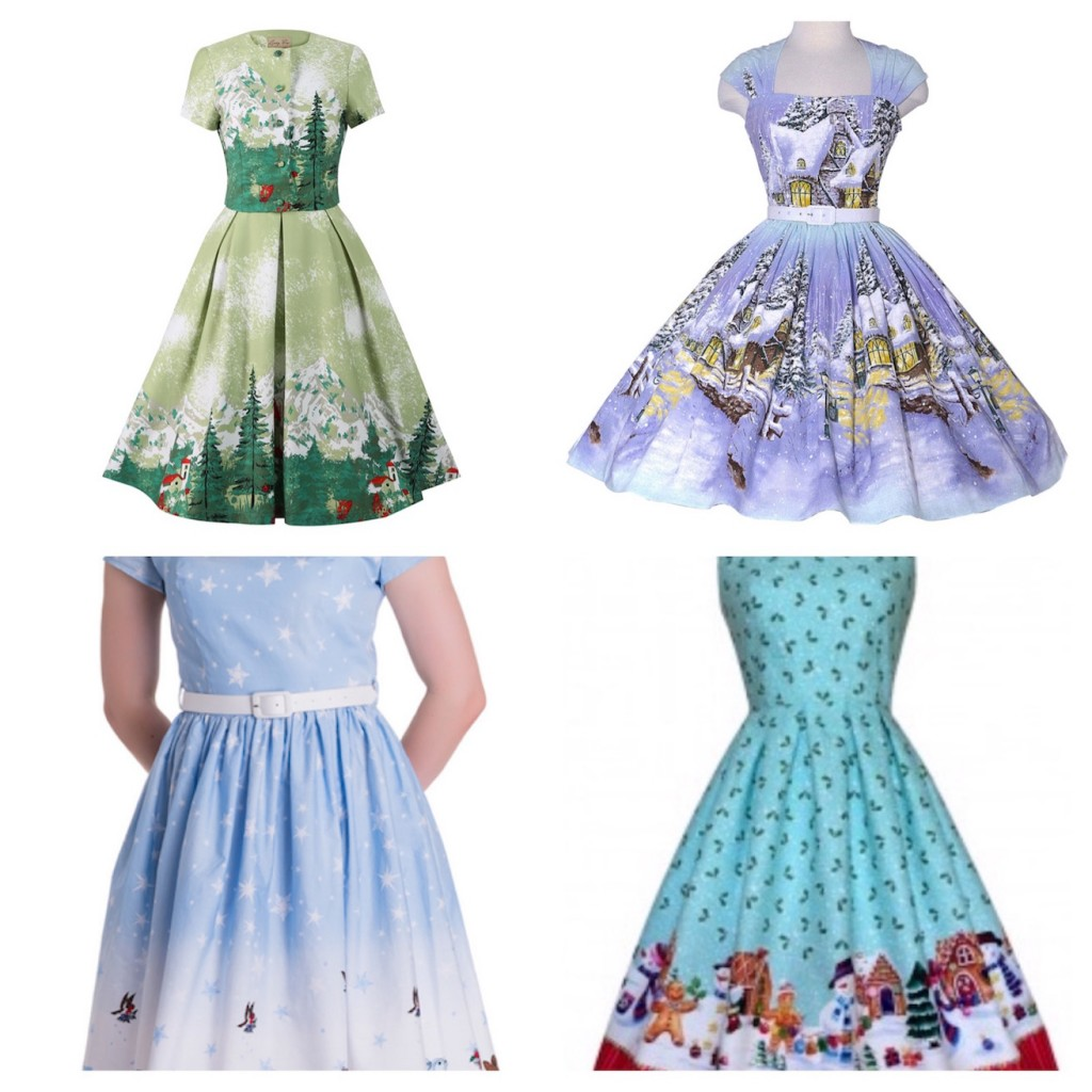 Novelty Print Pinup Girl Christmas Dresses