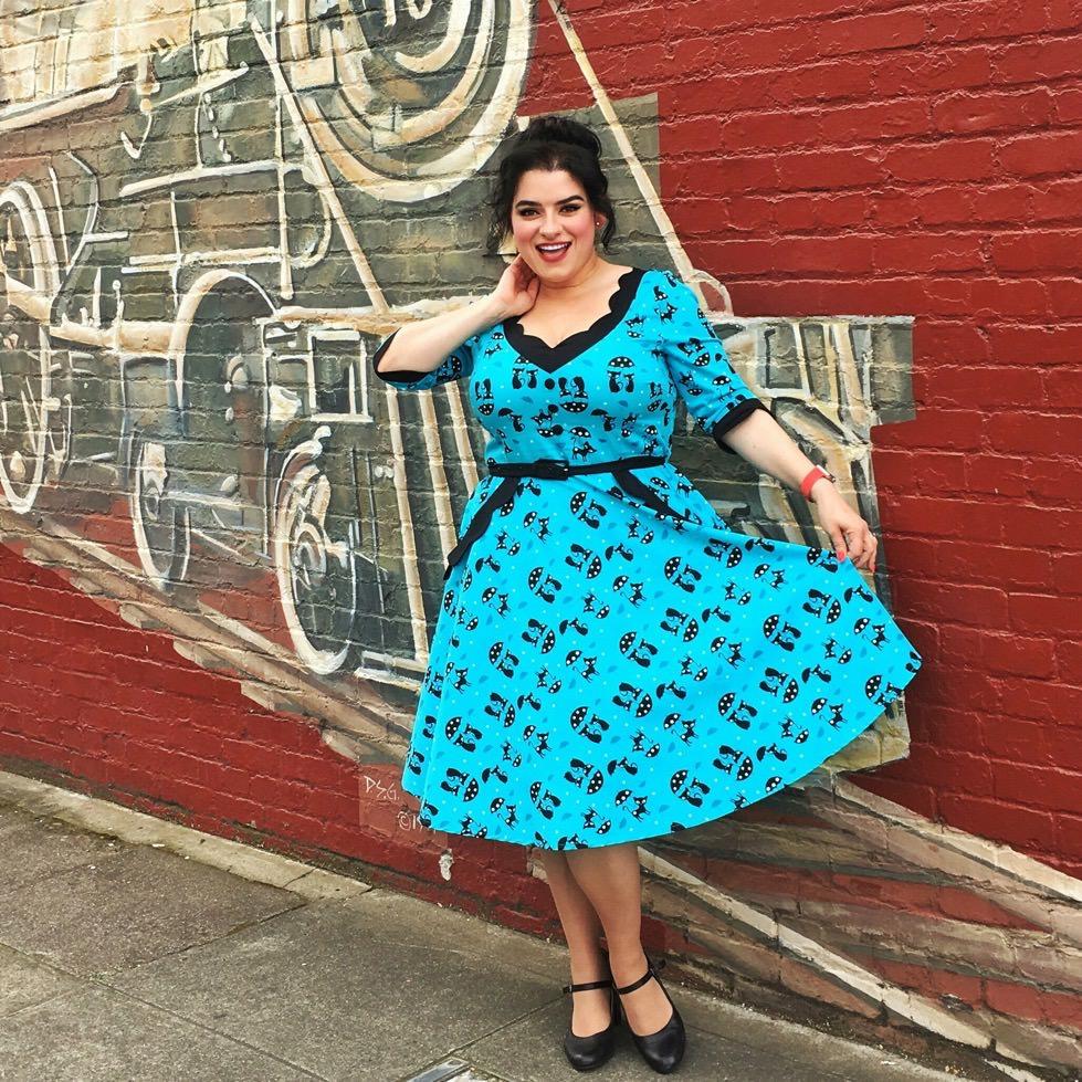 Voodoo Vixen Katnis Blue Dress Pinup Yasmina Greco