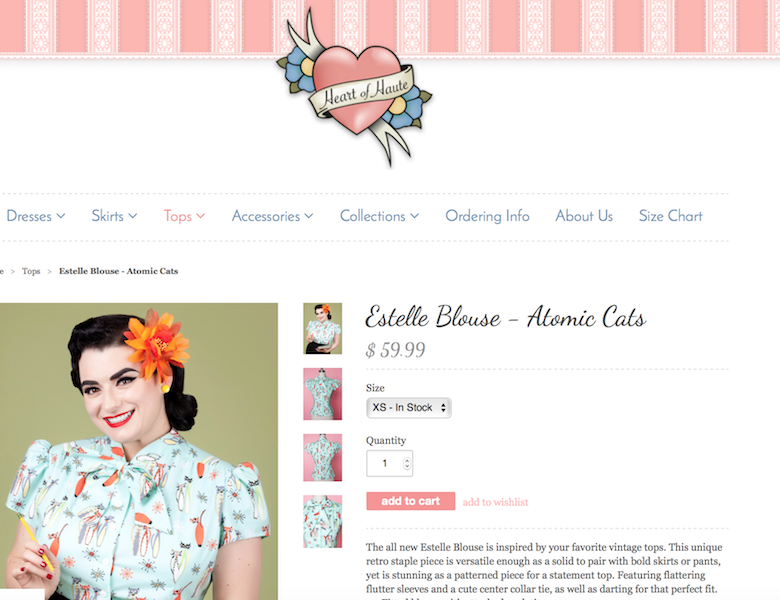 Yasmina Greco Heart of Haute Estelle Top Atomic Cats