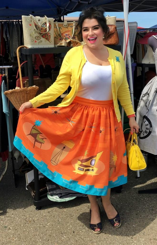 Yasmina Greco The Oblong Boc Shop MCM Novelty Print Pinup Skirt