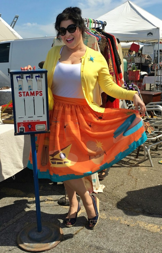 Yasmina Greco The Oblong Boc Shop MCM Novelty Print Pinup Skirt Alameda Point Antique Faire