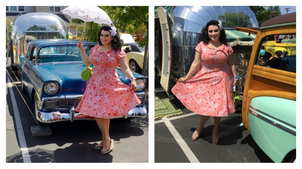 Yasmina Greco in Heart of Haute Beverly Pinup Dress - Serenity- Vintage Airstream Bubble Trailer