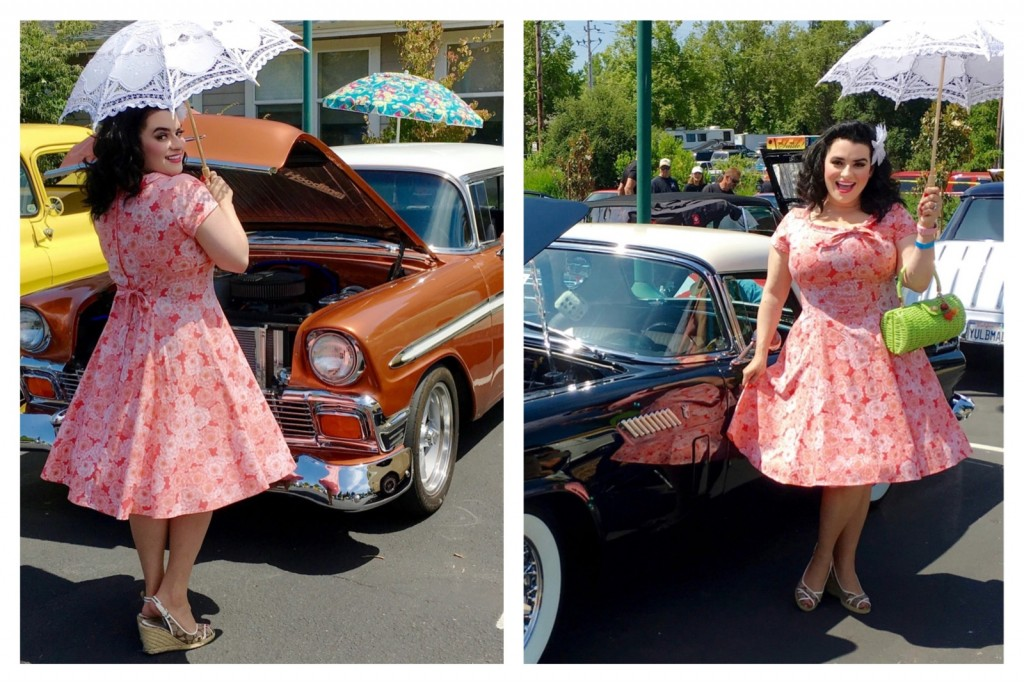 Yasmina Greco in Heart of Haute Beverly Pinup Dress - Serenity- Vintage Ford Thunderbird