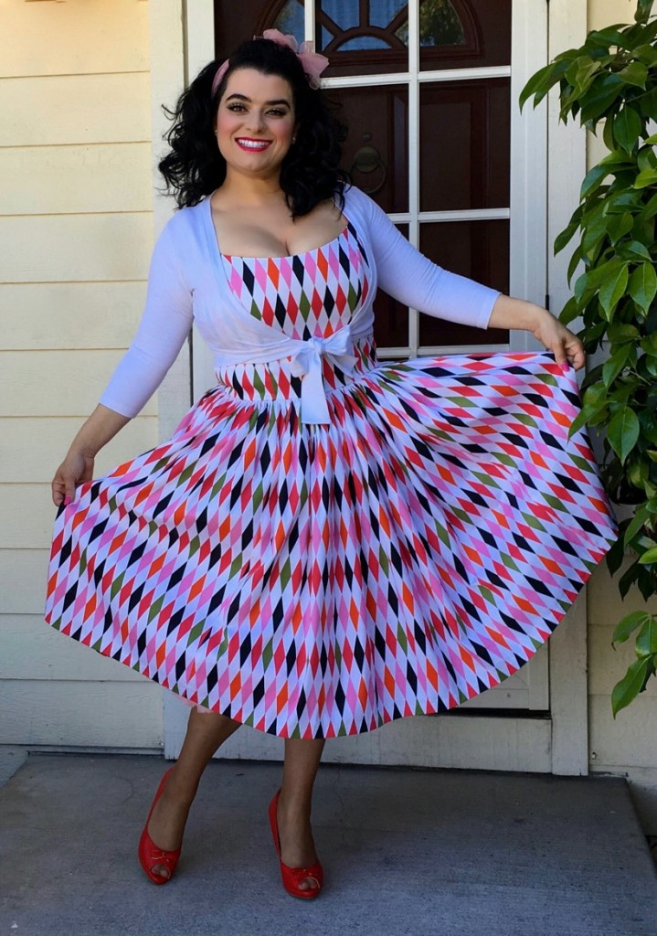 White Sateen Harlequin Pinup Couture Pinup Girl Yasmina Greco