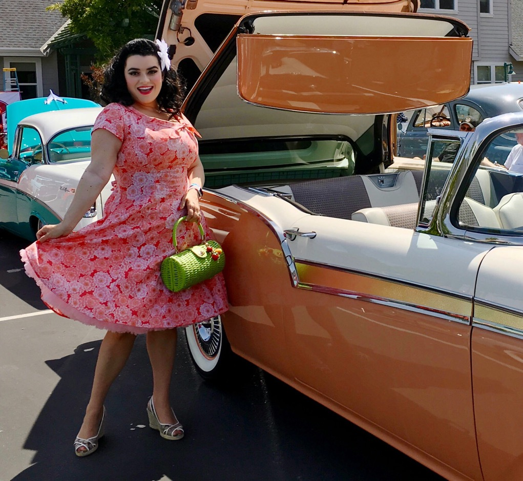 Yasmina Greco in Heart of Haute Pinup Beverly Dress - -Serenity - Vintage Ford Fairlane