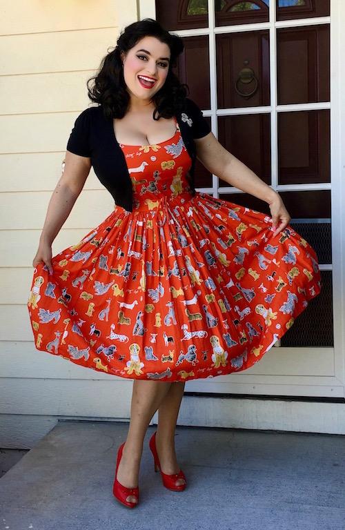 Yasmina Greco - Bernie Dexter Chelsea Red Dog Pinup Dress