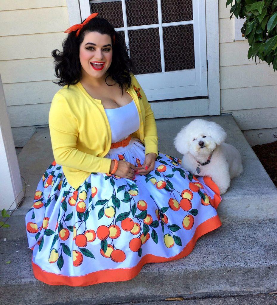 Yasmina Greco -  Pinup Girl Clothing Jenny Dress in  Orange Border Print
