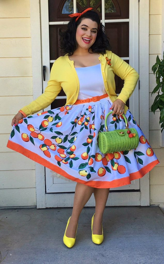 Yasmina Greco -  Pinup Girl Jenny Dress in Orange Border Print - Pinup Couture Wicker Baguette Purse
