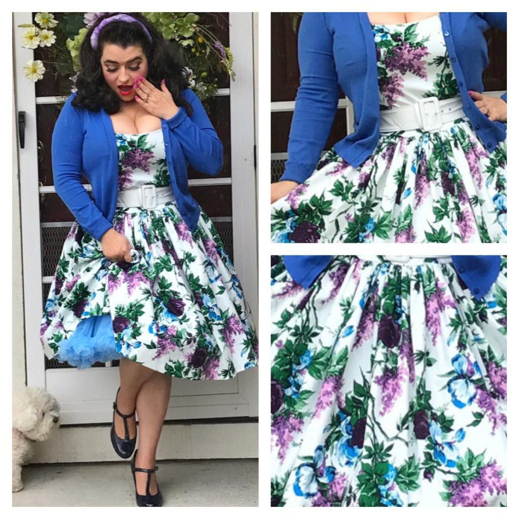 Yasmina Greco - Pinup Couture Jenny Dress in White and Lavender Floral Print