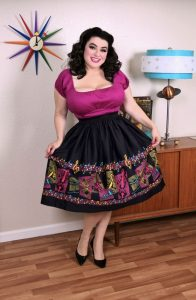 Pinup Couture Bella Skirt in Music Boarder Print with Art by Stephanie Buscema