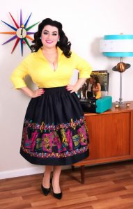 Yasmina Greco Pinup Girl Clothing Bella Skirt in Music Boarder Print with Art by Stephanie Buscema Lauren Top