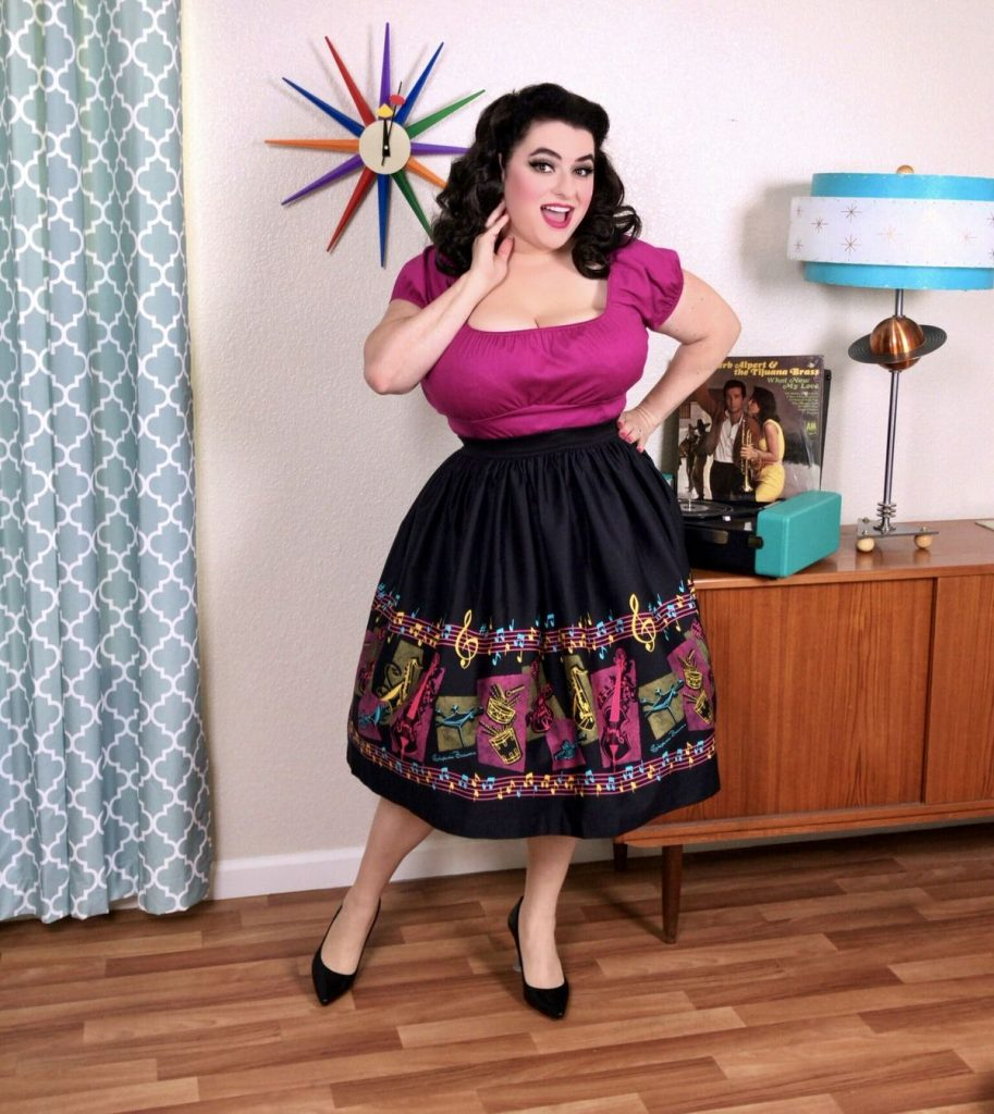 Yasmina Greco Pinup Couture Bella Skirt in Music Boarder Print with Art by Stephanie Buscema