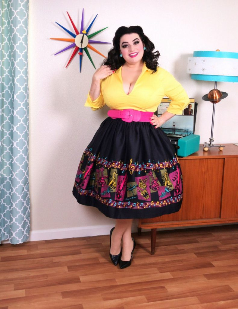 The Bella Skirt in Music Notes Border Print with Art by Stephanie Buscema