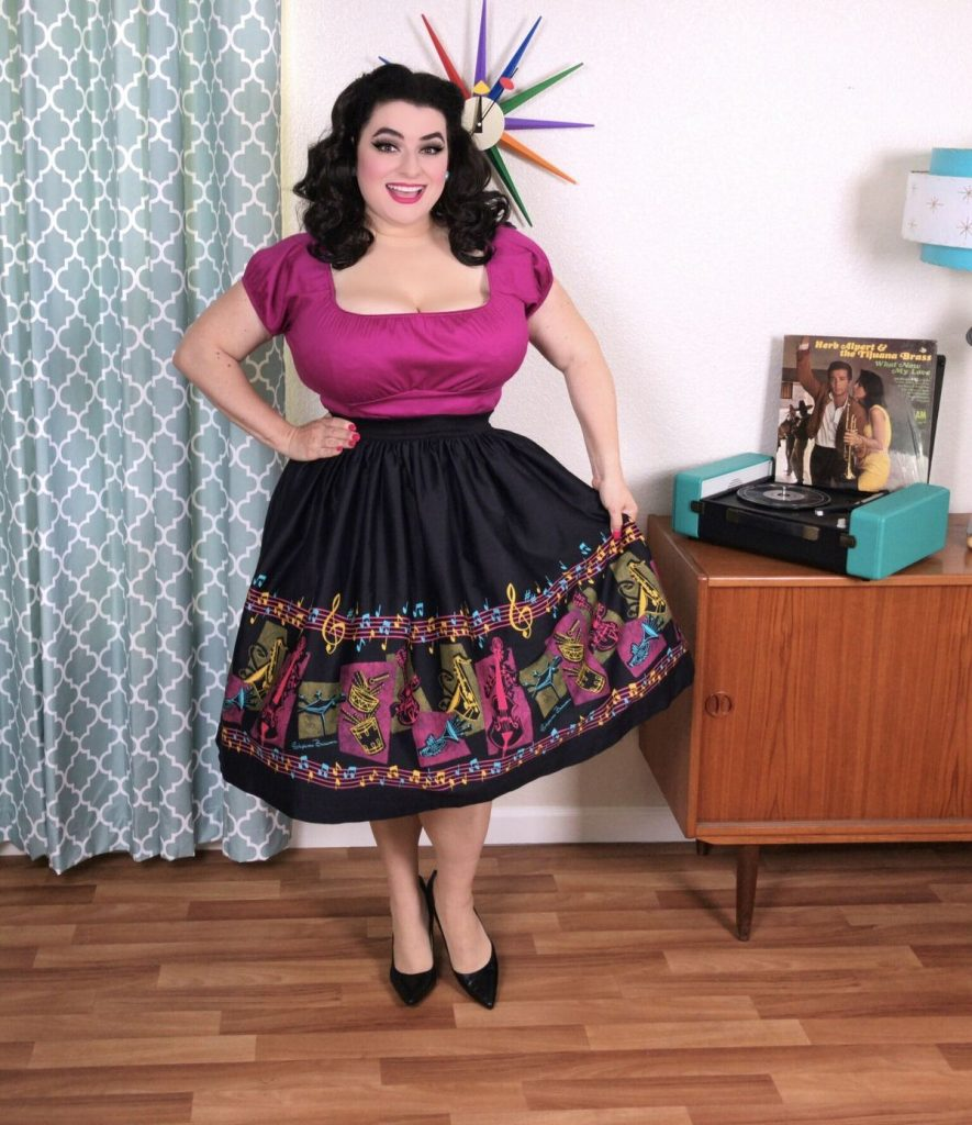 Yasmina Greco Pinup Girl Clothing Bella Skirt in Music Boarder Print with Art by Stephanie Buscema