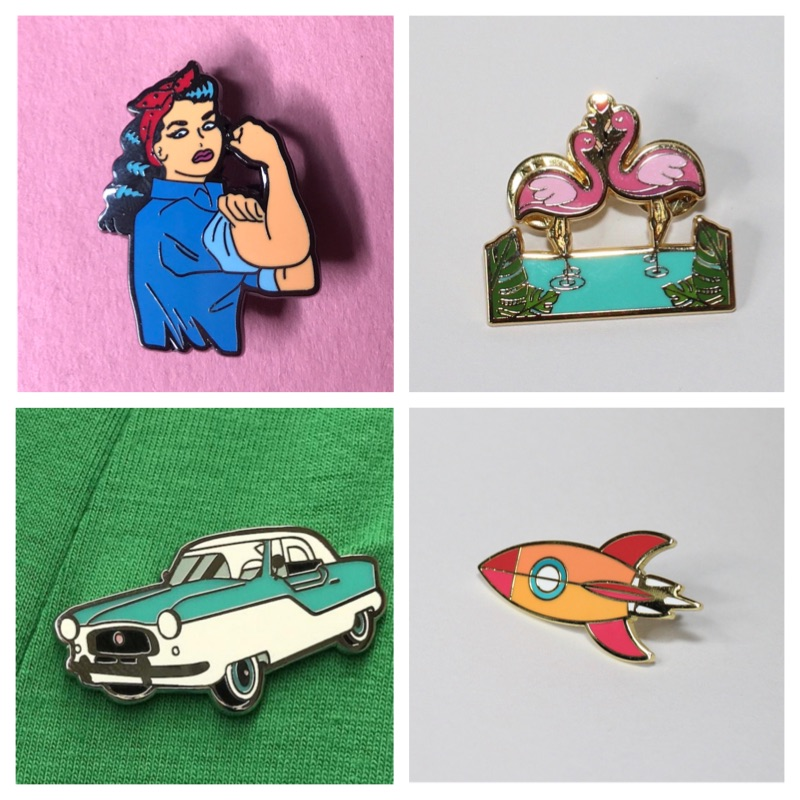 Pinup Girl Rosie Riveter Flamingo Enamel Pins Crazy4Me Style