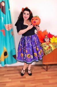 Pinup Couture Jenny Skirt in Lantern Border Print