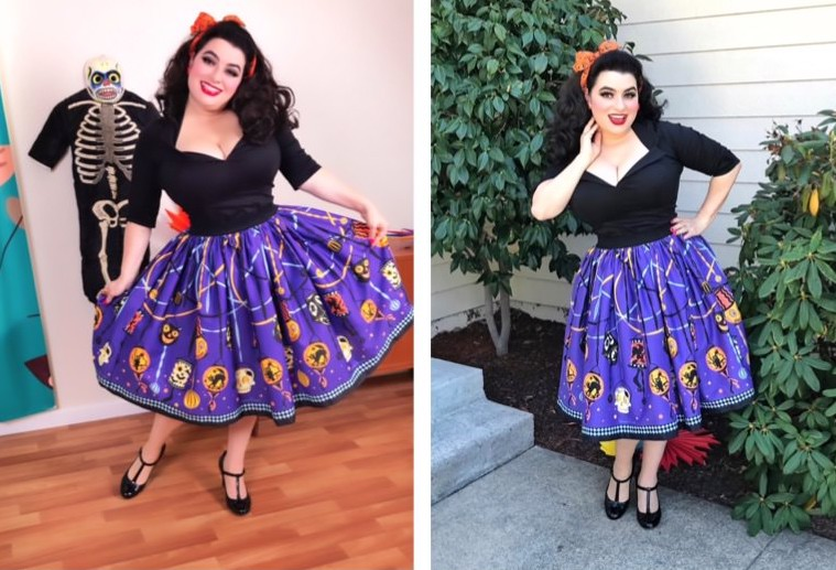 Yasmina Greco - Pinup Couture Jenny Skirt in Lantern Border Print