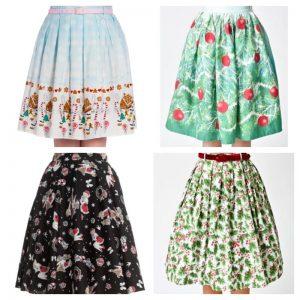 Hell Bunny Christmas Pinup Novelty Skirt