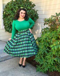 Yasmina Greco Laura Byrnes California Long Jun Skirt in Green House Harlequin
