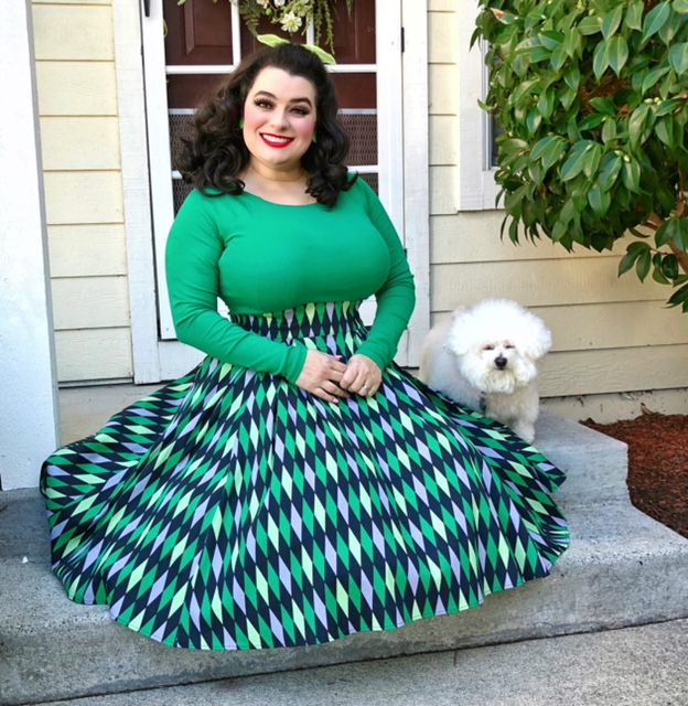 Yasmina Greco Laura Byrnes California Long Jun Skirt in Green House Harlequin