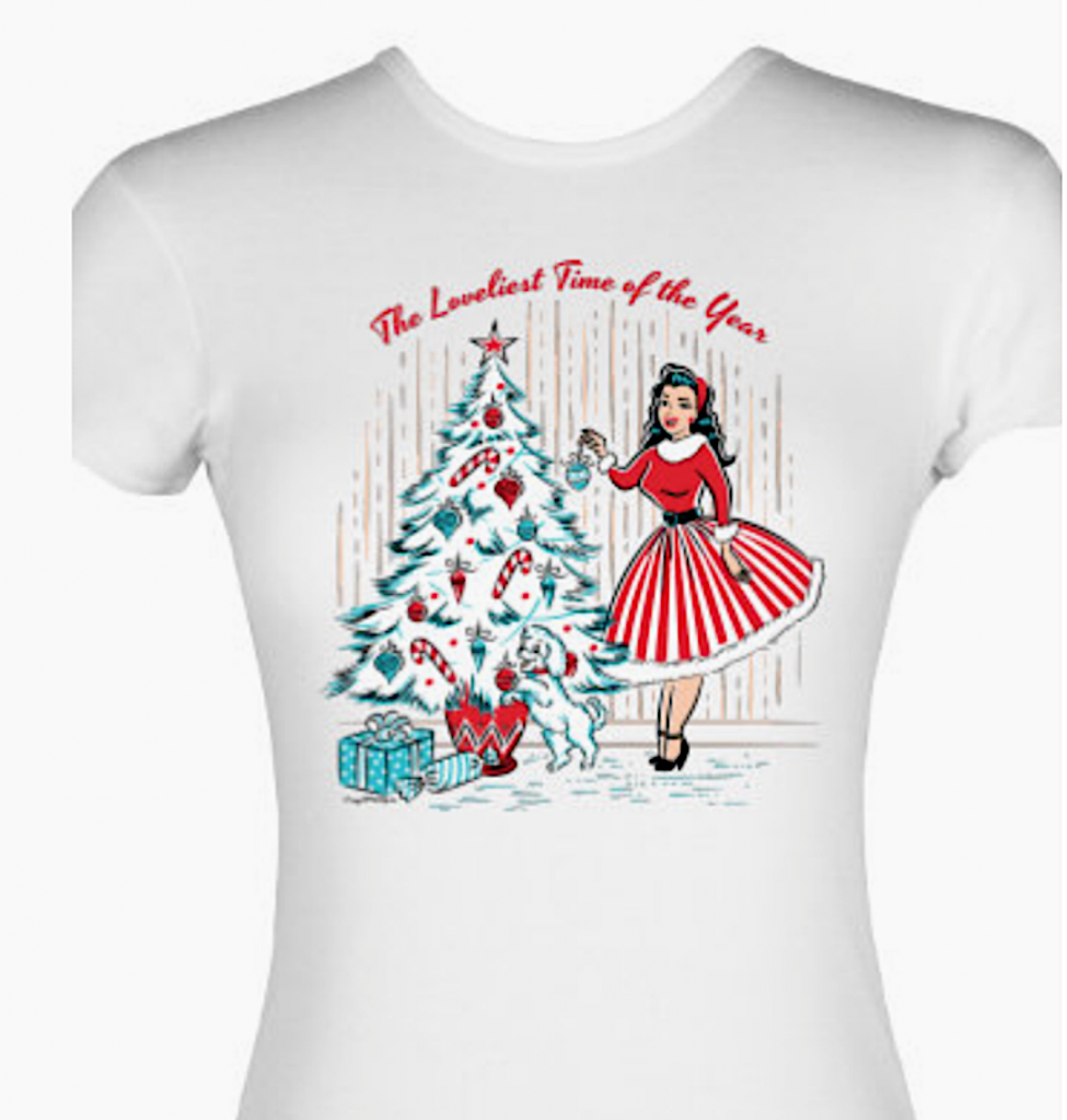 Crazy4Me Style Christmas Pinup Girl T-Shirt
