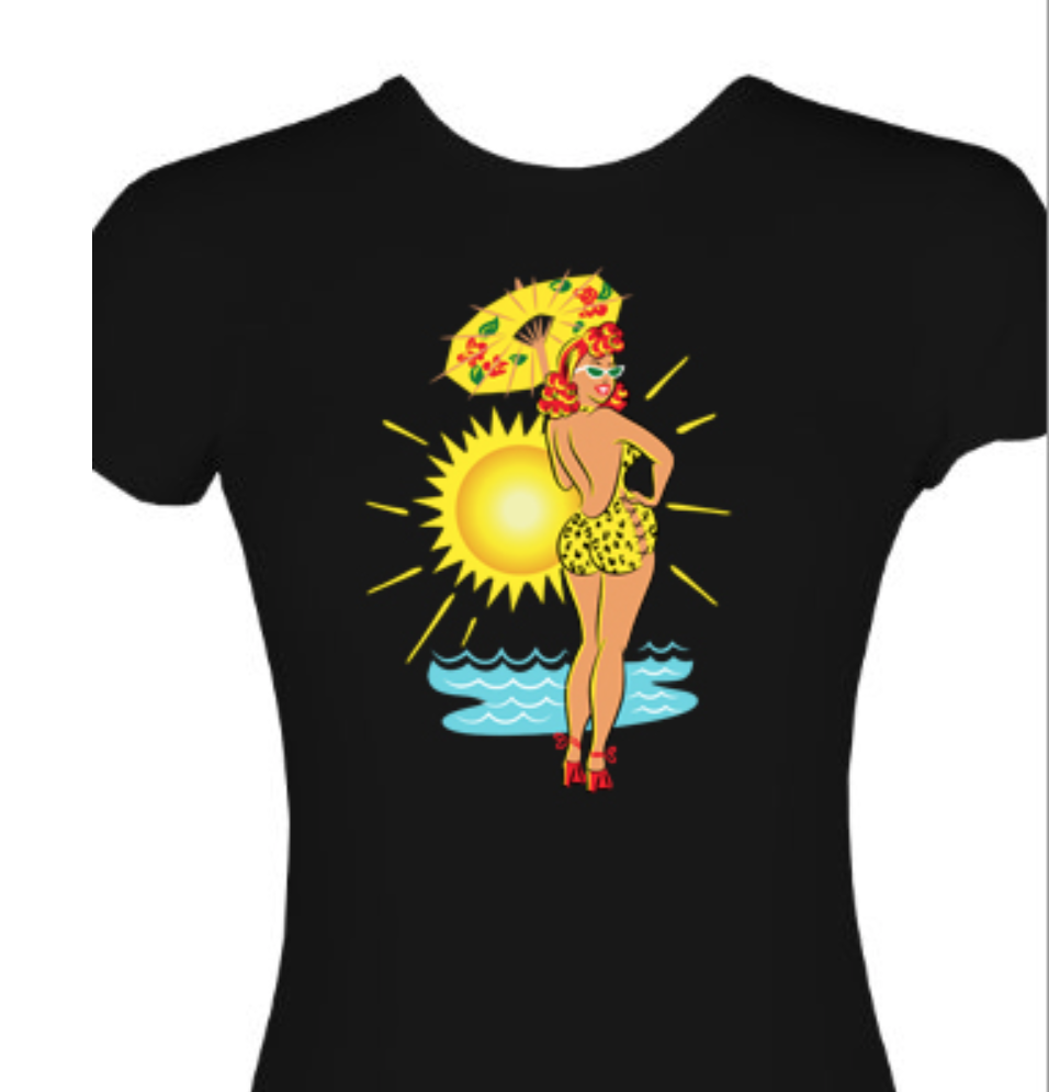 Beach_Babe_Pinup_Girl_T-Shirt