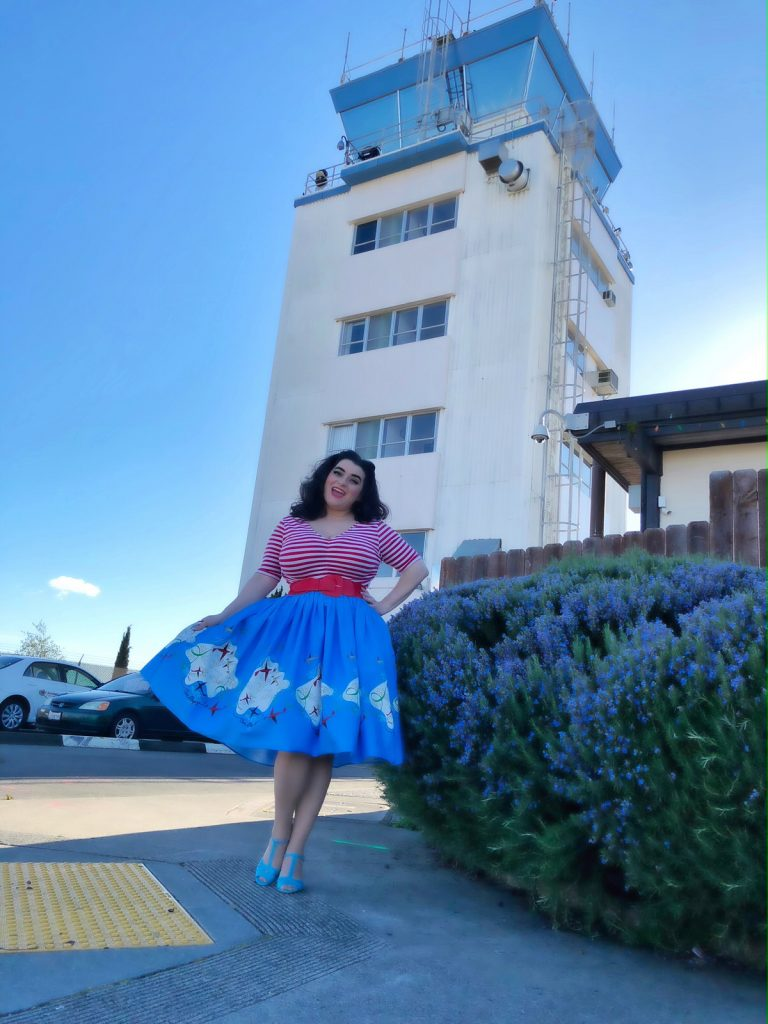 Yasmina Greco Pinup Couture Jenny Skirt in Mary Blair Planes Border Print Sonoma Country Airport
