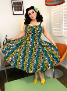 Yasmina Greco The Gloria Swing Dress in Calypso Castaway Pinjup Girl
