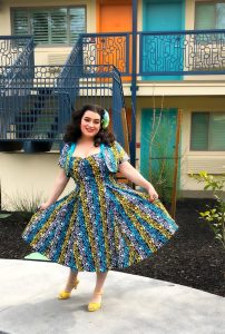 Yasmina Greco The Gloria Swing Dress in Calypso Castaway Pinup Girl The Astro Motel