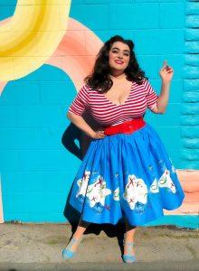 Yasmina Greco Pinup Couture Jenny Skirt in Mary Blair Planes Border Print