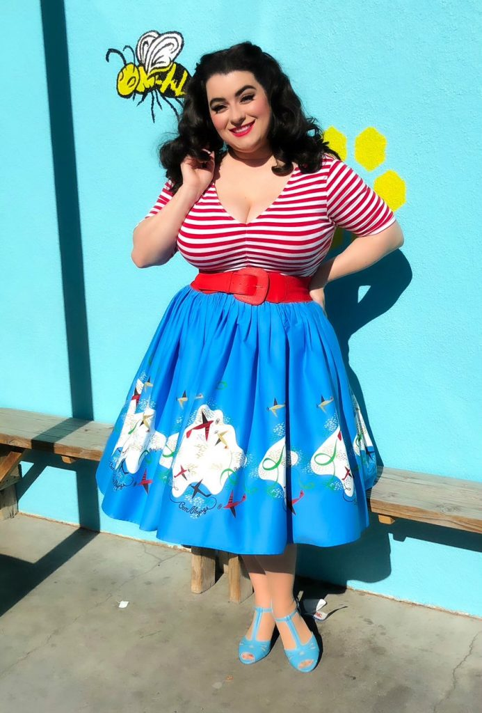 Yasmina Greco Pinup Couture Jenny Skirt in Mary Blair Planes Border Print Sebastopol